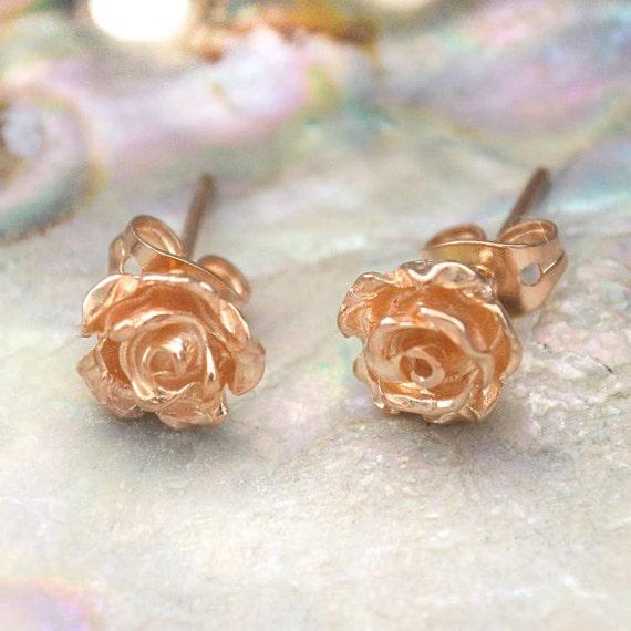 ac2f8728f Flower Stud Earrings-Rose Gold Earrings-Nature Earrings-Stud | Etsy
