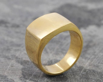 Gold Signet Ring, Fathers Day Ring, Gift For Men, Square Ring, Mens Ring, Gold Ring, Graduation Ring, Gift For Dad, 925 RIng, Handmade Ring