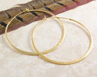Large Gold Hoop Earrings, Hammered Hoops