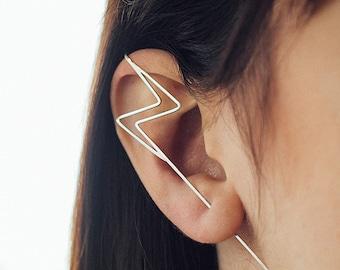 Sterling Silver Lightning Bolt Earrings, Silver Ear Pin, Silver Ear Crawler, Lightning Bolt Ear Cuff, Harry Potter Earrings