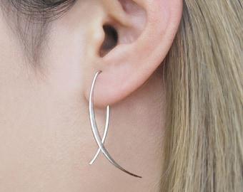 Sterling Silver Drop Earrings, Modern Drop Earring, Unusual Earrings, Modern Earrings, Minimal Earring, Everyday Earrings, Earrings under 20