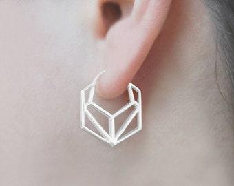 Geometric Earrings-Sterling Silver Earrings-Minimal Earrings-Sterling Silver Hoops-Simple Earrings-Modern Earrings-Hexagon Hoops-Latch Studs