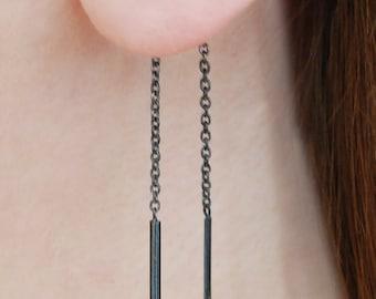 Black Threader Earrings, Ear Thread Earrings, Chain Earrings, Black Drop Earrings, Sterling Silver Threader Earrings, black chain earrings