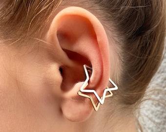 Star Ear Cuff-Ear Cuff No Piercing-Silver Ear Cuff-Star Hoops-Star Ear Climber- Celestial Earrings-Silver Earring-Gift Under 20-Gift For Her