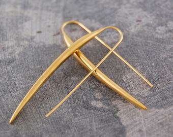 Gold Earrings - Drop Earrings - Gold Drops - Statement Earrings - Long Drop Earrings - Modern Earrings - Vermeil Earrings - Unusual Earrings