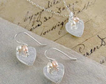 Silver Heart Drop Earring and Necklace Set with Pearl Cluster, Jewellery Set, Handmade Jewelry, Jewellery Gift for Brides, Mom and Daughter