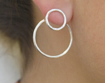 Sterling Silver Ear Jackets-Double Circle Two Way Earrings-Round Circle Earrings-Sterling Silver Earrings-Double Earrings-925 Stud Earrings