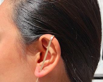 Hammered Sterling Silver Ear Cuff, Handmade Bar Earring, Minimal Ear Climber, Minimalist Earrings, Ear Jacket, Simple Earrings