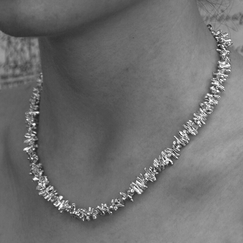 71b856f6de006 Sterling Silver Necklace, Handmade Silver Necklace, Chunky Silver Necklace,  Organic Necklace, Statement Necklace, Solid Silver Necklace