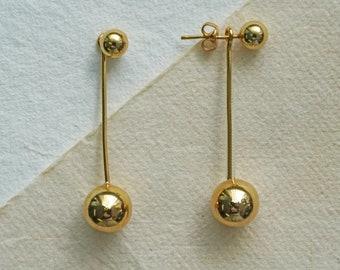 Gold Sterling Silver Long Drop Ball Earrings, Round Stud Earring, Ear Jacket Studs, Long Dangly Earring, Charm Earring, Cool Gift
