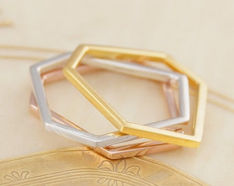 Geometric Sterling Silver And Gold Hexagon Ring, Stacking Rings