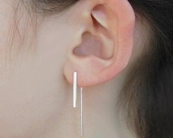 Silver Bar Earrings - Minimal Silver Earrings - Silver Drop Earrings - Handmade Modern Earrings - Bar Earrings - Geometric Drop Earrings
