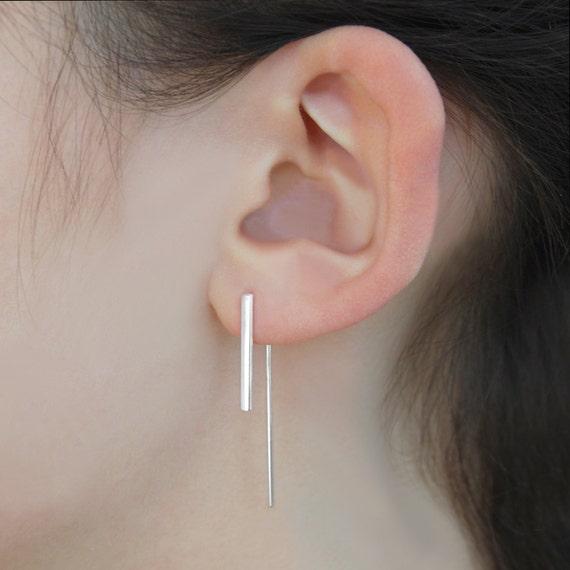 Silber Bar Ohrringe Minimale Silber Ohrringe Silber Etsy