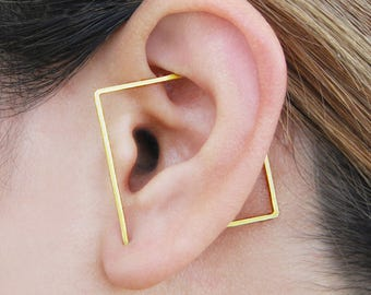 Square Ear Cuff, Gold Ear Cuff, Sterling Silver Earrings, Geometric Earrings, Gold Hoop Earrings, Ear Cuff, Minimalist Earrings,Gift for Her