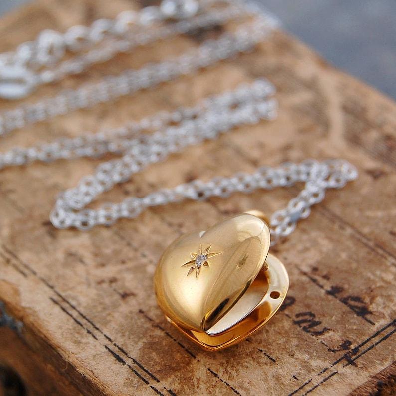9b654e6c3759c9 Gold Locket Locket Pendant Sterling Silver Heart Locket   Etsy
