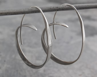 Silver Hoop Earrings, Silver Earrings, 925 Silver Earrings, Hoops - Silver Hoops, Unusual Hoop Earrings, Large Hoops, Modern Hoop Earrings