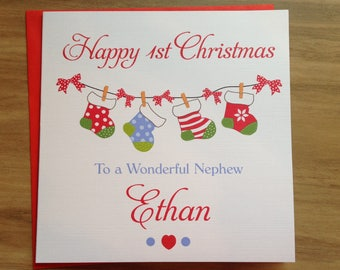 Handmade Personalised 1st Christmas Card Son/Nephew/Brother/Grandson    Boy