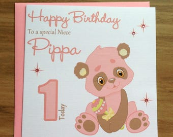 Handmade Personalised Cute Pink Panda Bear Birthday Card 1st 2nd 3rd 4th 5th