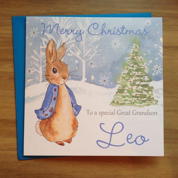 Handgemachte personalisierte blau Peter Rabbit Weihnachtskarte   Etsy