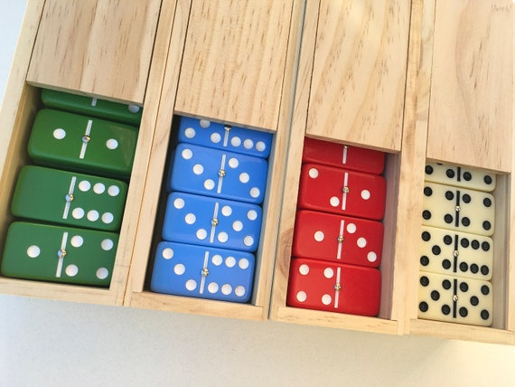 Dominoes Jumbo RED with White Pips /_ Double Six Set of 28