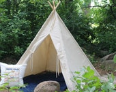 Teepee Tent for Kids, Large 52 quot Base SALE, Natural Canvas