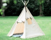 Unique Kids Heavy Canvas Teepee Play Tent with Roll Up Door and Window, Two Great Sizes, With Blue Arrows or Natural Mat, Ready to Ship