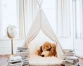 Kids Teepee Tent, Natural Canvas, Ready To Ship, in Four Sizes with Window, Ready to Ship