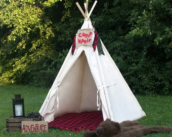 240e85a7 Kids Canvas Teepee, Play Tent With Window, Mat and Personalized Banner,  Four Sizes Ready to Ship