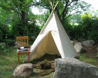 Teepee Canvas Kids Tent, FIVE Sizes Available, Can Include a Window