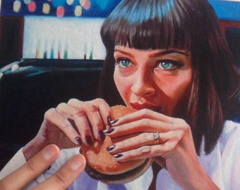 Art Print Reproduction // Hungry Eyes // From Original Acrylic Painting // Movie Art // Pulp Fiction // 22 cm x 17 cm // Cynthia Katz