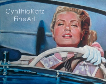 Art Print Reproduction // Watch Out! // From Original Acrylic Painting // Movie Art // Grace Kelly // 22 cm x 17 cm // Cynthia Katz