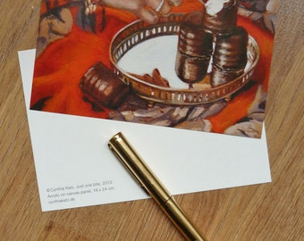 Postcard set of 3 //  Just One Bite // Frau Süß series // From Original Acrylic Painting // Food Art // Cynthia Katz