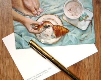 Postcard set of 3 //  Remembering Paris // Frau Süß series // From Original Acrylic Painting // Food Art // Cynthia Katz