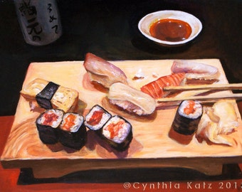 Art Print Reproduction // Lunch Special // From Original Acrylic Painting // Food Art // 22 cm x 17 cm // Cynthia Katz
