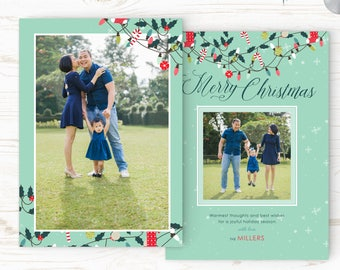 Christmas Card Template - Holiday Card Template - Photo Card Template - Instant Download - CRC018