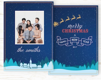 Christmas Card Template - Holiday Card Template - Photo Card Template - Instant Download - CRC014