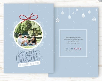 Christmas Card Template - Holiday Card Template - Photo Card Template - Instant Download - CRC004