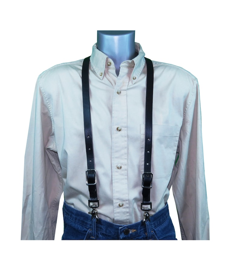 Men's Vintage Style Suspenders Braces Black Premium Leather Skinny Suspenders $49.95 AT vintagedancer.com