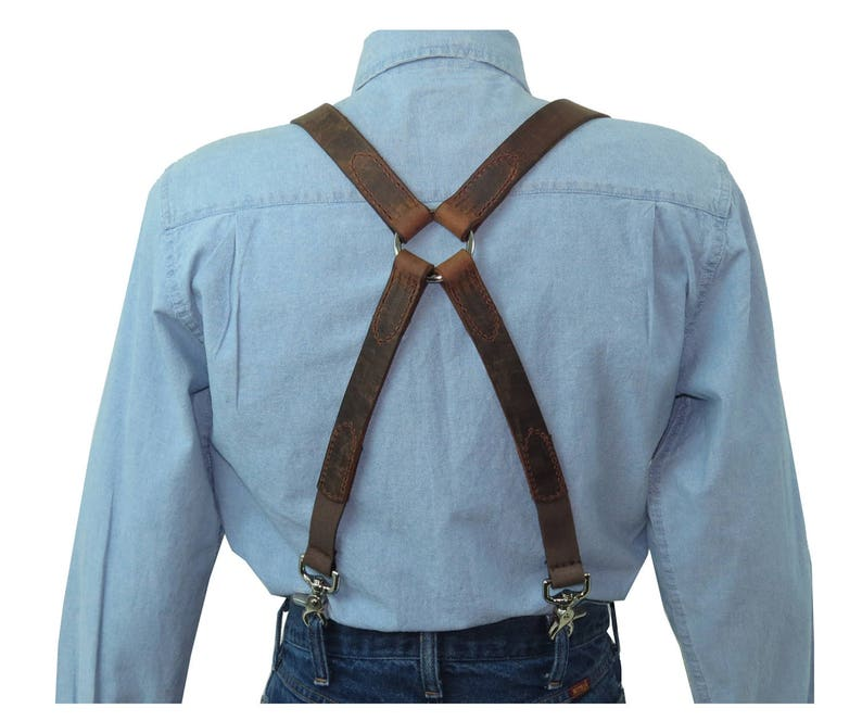 Men's Vintage Style Suspenders Braces Distressed Dark Brown Leather X-Back Mens Suspenders with Silver Ring Back $69.95 AT vintagedancer.com