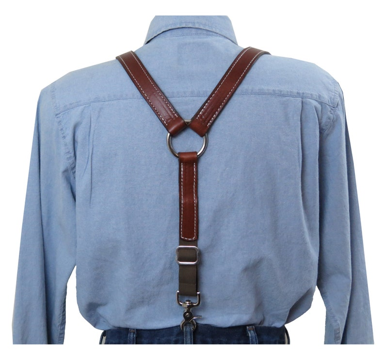 Men's Vintage Style Suspenders Braces White Stitched Brown Premium Leather Suspenders with Silver Ring Y-Back $74.95 AT vintagedancer.com