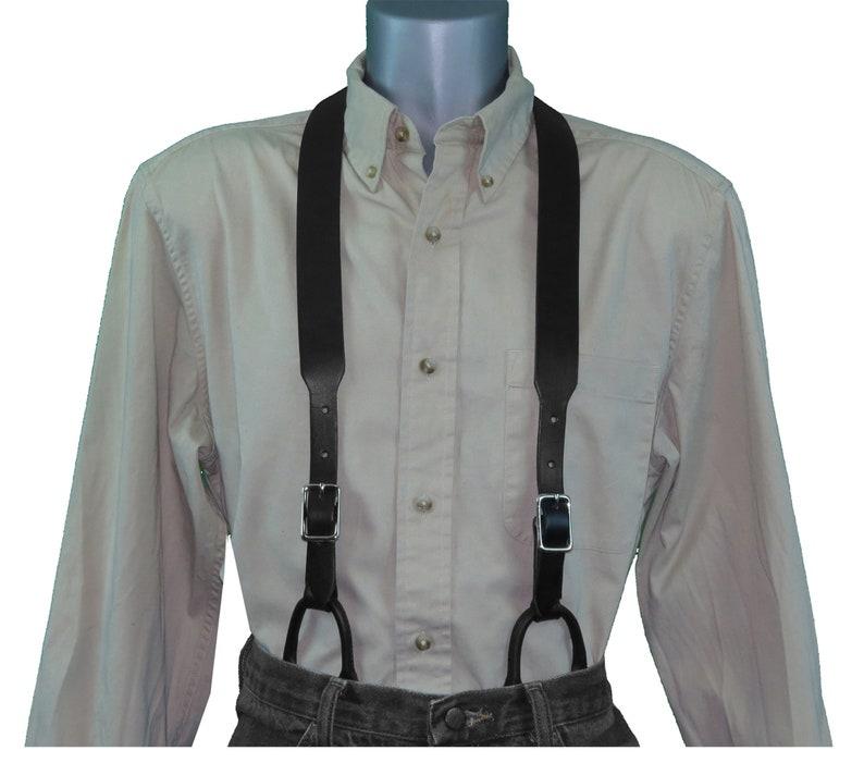 Men's Vintage Style Suspenders Braces Dark Brown Leather Suspenders with Button Connectors $67.95 AT vintagedancer.com