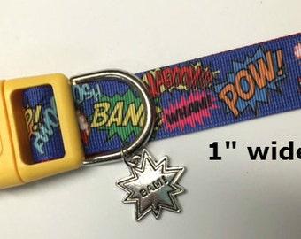 Bam Pow Zap Wham words adjustable Dog collar with BAM charm LEASHES & key fobs available