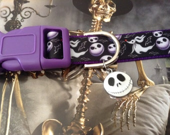 Nightmare Before Christmas NBC Inspired adjustable dog collar Jack Skellington charm LEASHES and key fob also Available