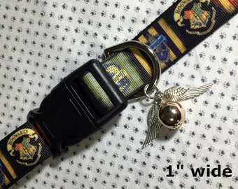 "Harry Potter 1"" wide & SMALLER sizes Hogwarts Houses adjustable dog and cat collars Snitch Or Death Hallows harm Leashes, key fobs available"