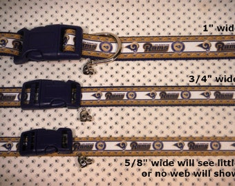 LA Los Angeles Rams Inspired Football Adjustable Dog or Cat collar with football charm LEASHES available