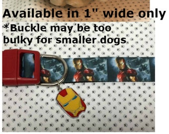 """Iron man Inspired 1"""" wide adjustable dog collar with Iron Man face charm  2 designs choices LEASHES & key fob AVAILABLE"""