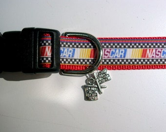 NASCAR Adjustable Dog or Cat collar with CHECKERED FLAG charm Multi color