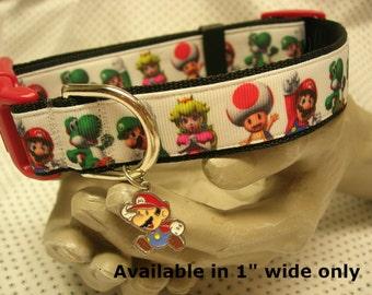 Super Mario Luigi Nintendo adjustable dog collar also smaller different design for cats small dog pick Mario or Luigi charm LEASH AVAILABLE