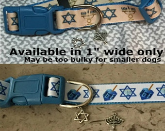 Star of David,  Menorah Jewish theme adjustable dog or cat collar with Menorah or Star charm IN NOTES tell me charm choice Leashes available