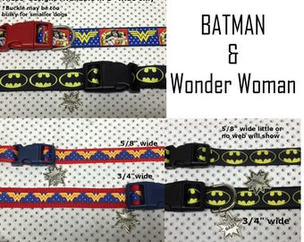 Batman or Wonder dog or cat collar with BAM  charm LEASH & key fob available Be sure to check size differences
